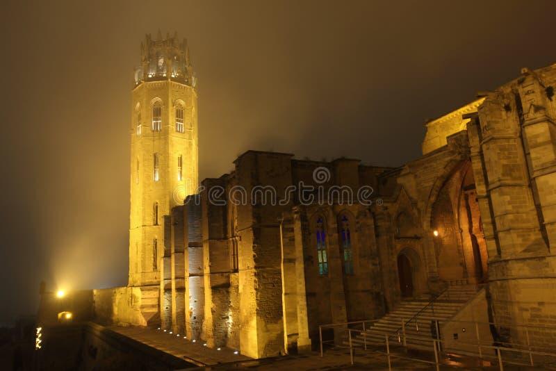 Catedral de Lérida en la noche fotografía de archivo