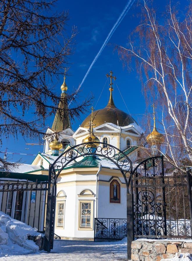 Catedral de la ascensión en el cuadrado de Narym en Novosibirsk, Rusia imágenes de archivo libres de regalías