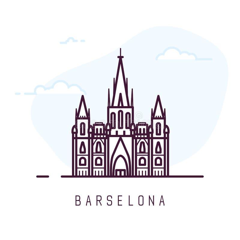 Catedral de la ciudad de Barcelona ilustración del vector