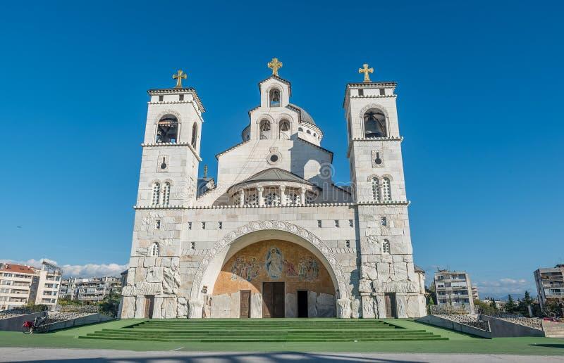 Catedral de la resurrección de Cristo en Podgorica, Montenegro foto de archivo libre de regalías