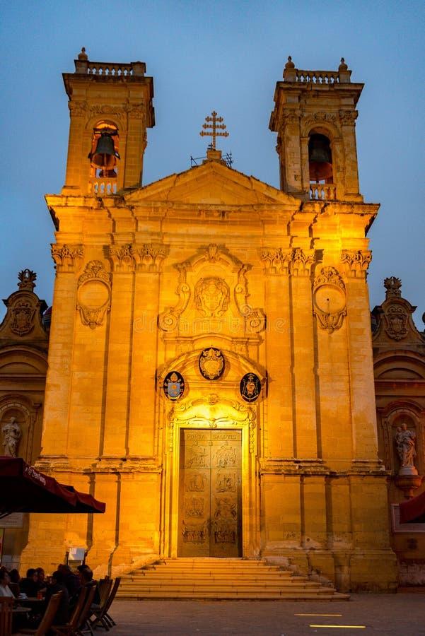 Catedral de la suposición en el alto de Cittadella sobre Victoria, Gozo, Malta imagen de archivo libre de regalías