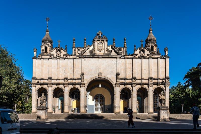 Catedral de la trinidad santa en Addis Ababa, Etiopía fotografía de archivo libre de regalías
