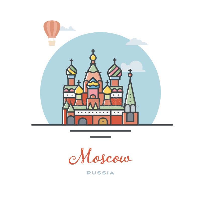 Catedral de las albahacas del santo en Moscú, Rusia, ejemplo plano del vector ilustración del vector