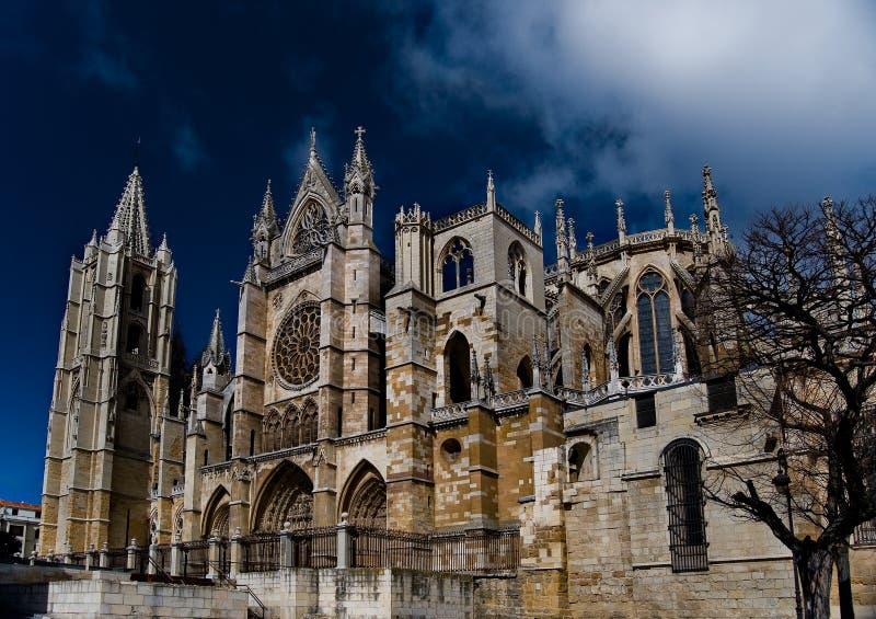 Catedral de Leon. España imagen de archivo libre de regalías