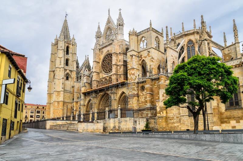 Catedral de Leon, Espanha fotografia de stock