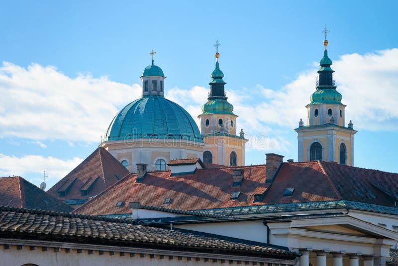 Catedral de Ljubljana en la ciudad vieja Eslovenia foto de archivo libre de regalías