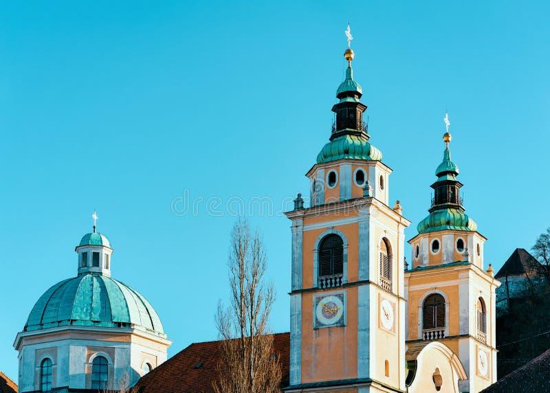Catedral de Ljubljana en la ciudad vieja Eslovenia fotografía de archivo libre de regalías