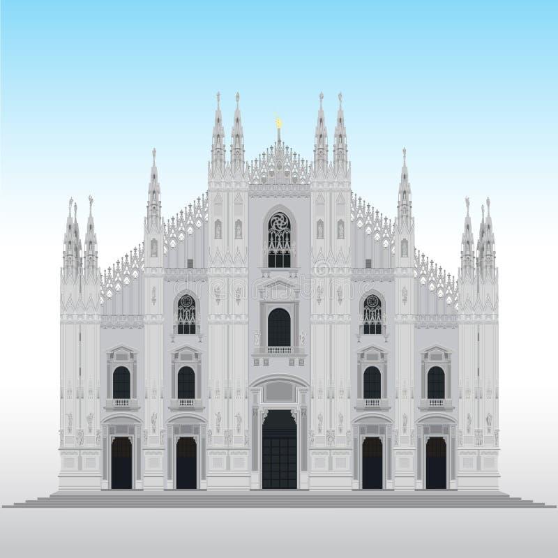 Catedral de Milão, Italy ilustração do vetor