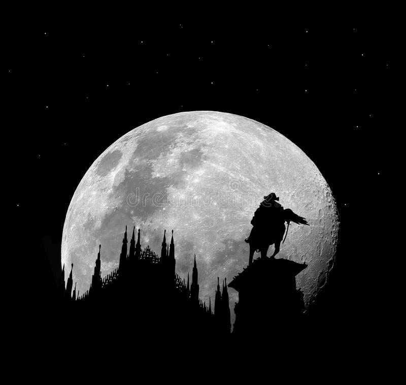 Catedral de Milão na noite com lua ilustração royalty free