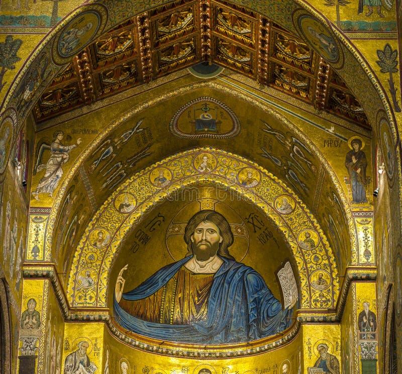 Catedral de Monreale del mosaico del detalle imágenes de archivo libres de regalías