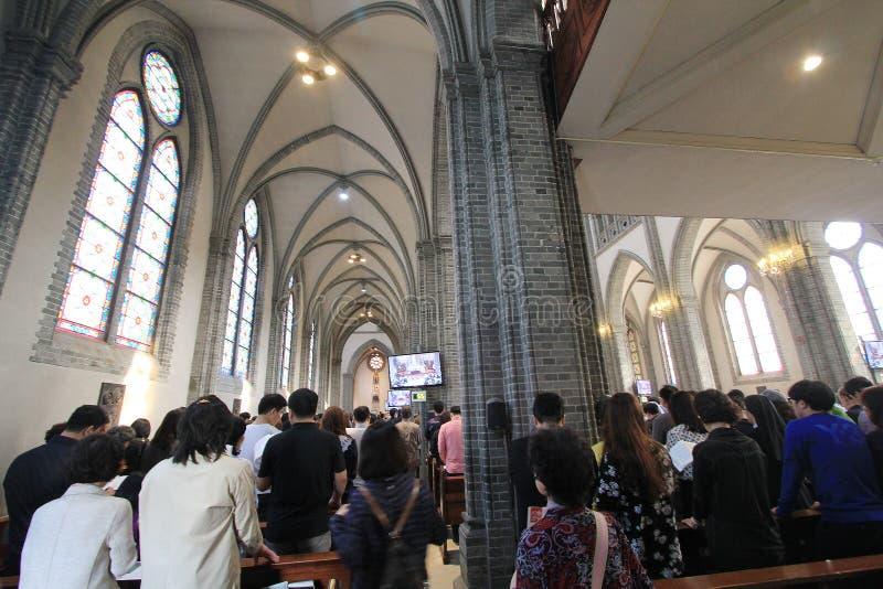 Catedral de Myeongdong de la Corea del Sur en Seul fotografía de archivo