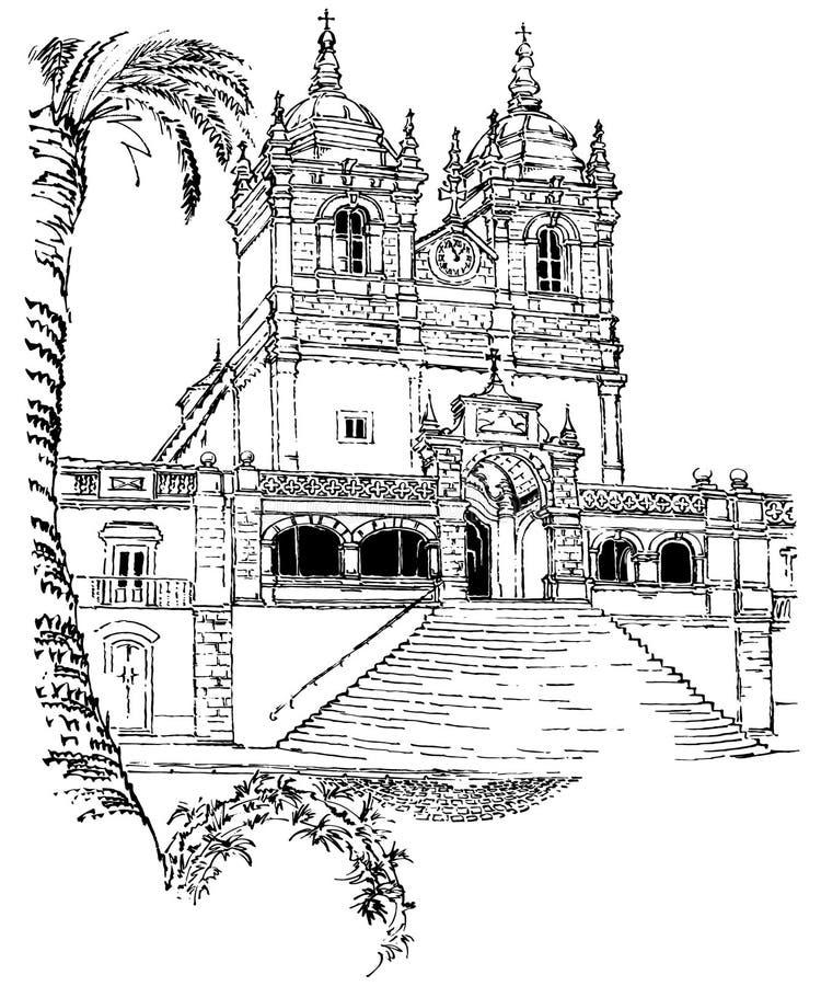Catedral de Nazare, en Portugal, monumento histórico antiguo ilustración del vector