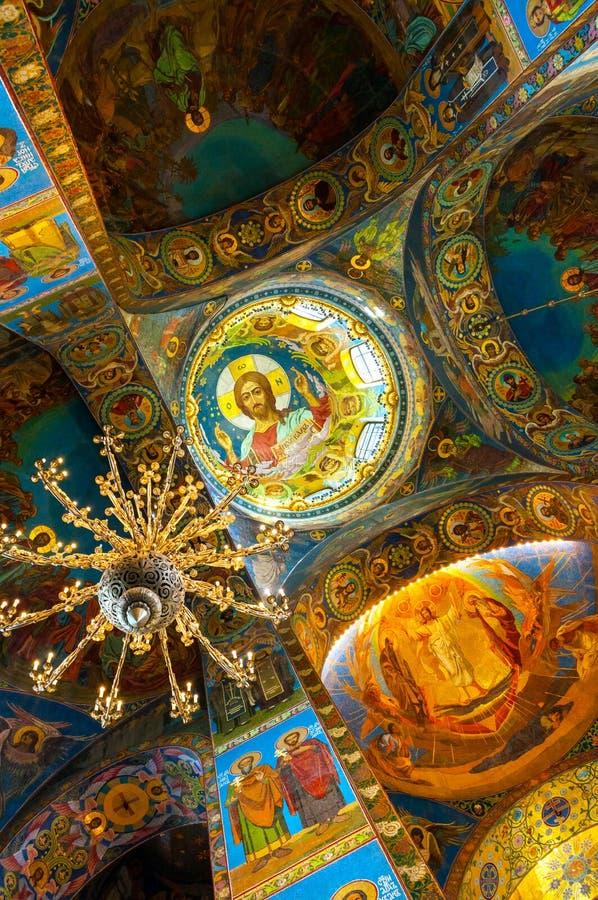Catedral de nosso salvador no sangue derramado Vista interna do marco de St Petersburg Mosaico de Cristo Pantocrator fotografia de stock