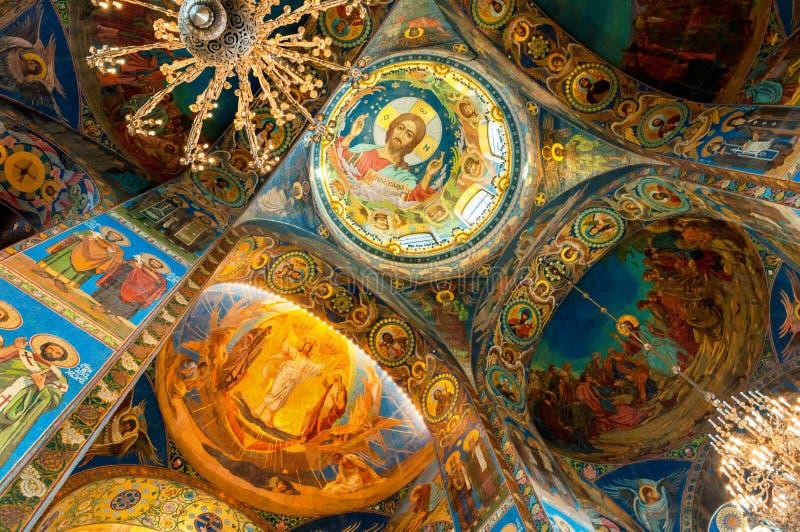 Catedral de nosso salvador no sangue Spilled - interior do marco de St Petersburg Mosaico de Cristo Pantocrator fotografia de stock royalty free