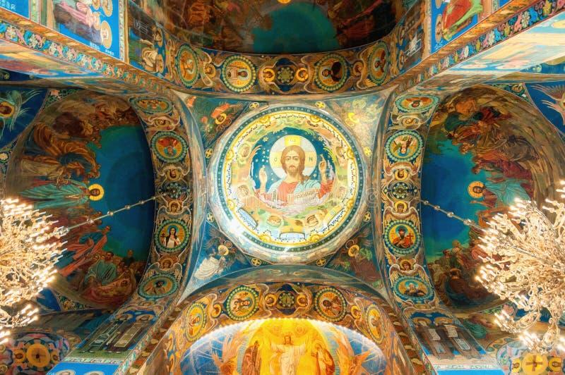 Catedral de nosso salvador no sangue Spilled - vista interior do marco de St Petersburg Mosaico de Cristo o Pantocrator fotografia de stock