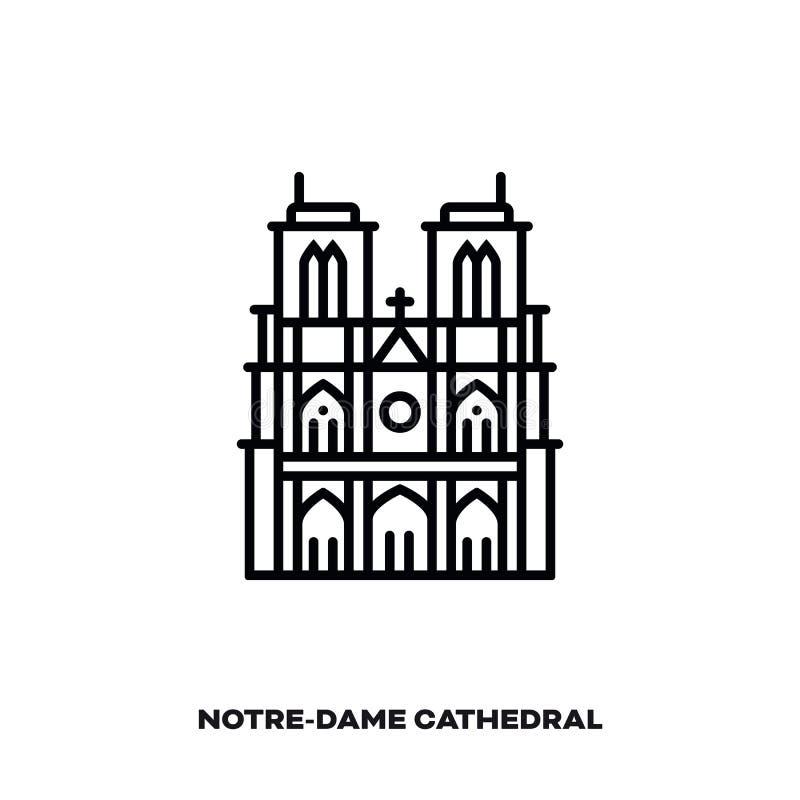 Catedral de Notre-Dame linha ícone do vetor em Paris, França ilustração stock