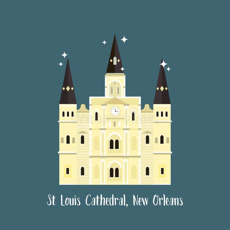 Catedral de Nova Orle?es St Louis Marco famoso ilustração do vetor
