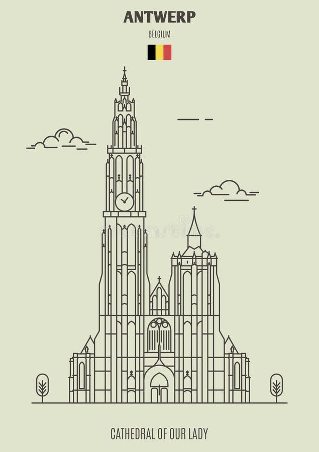 Catedral de nuestra señora en Amberes, Bélgica Icono de la señal stock de ilustración