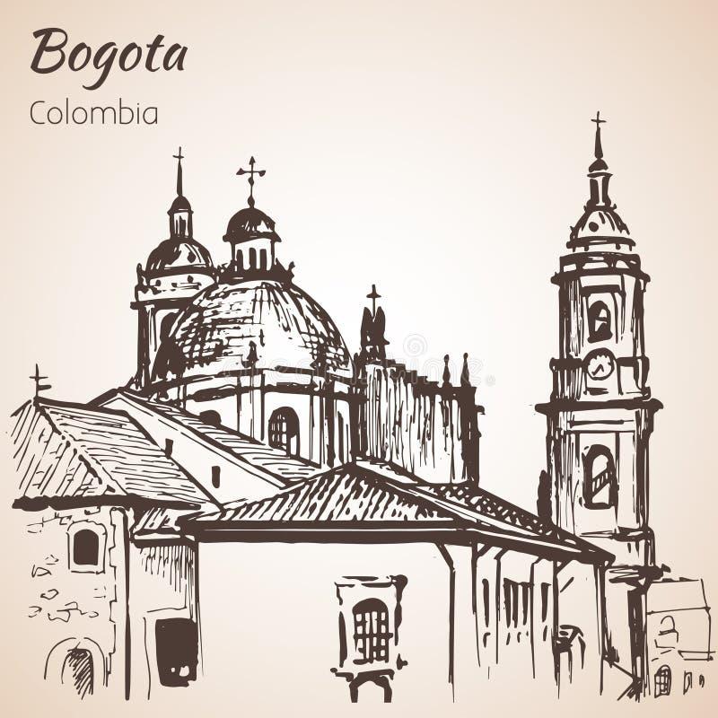 Catedral de PPrimatial de Bogotá esboço ilustração do vetor