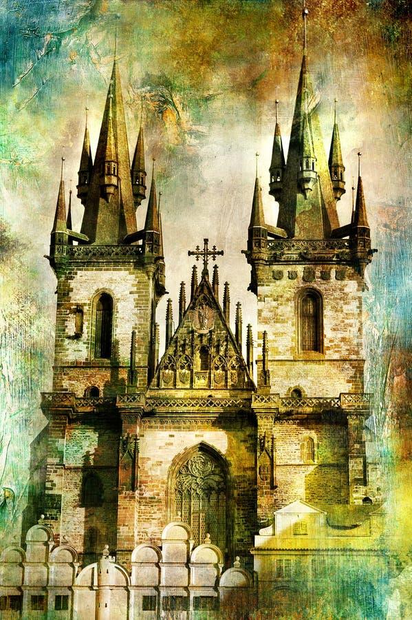 Catedral de Prague ilustração do vetor