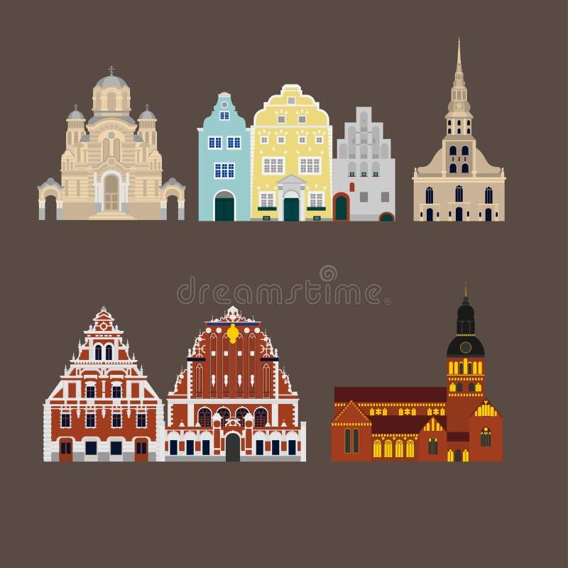 Catedral de Riga, natividade da catedral de Cristo, casa irmãos sightseeing e três da igreja do ` s das pústulas, do St Peter ilustração royalty free