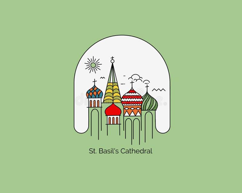 Catedral de São Basil, Praça Vermelha, Moscou, Rússia ilustração royalty free