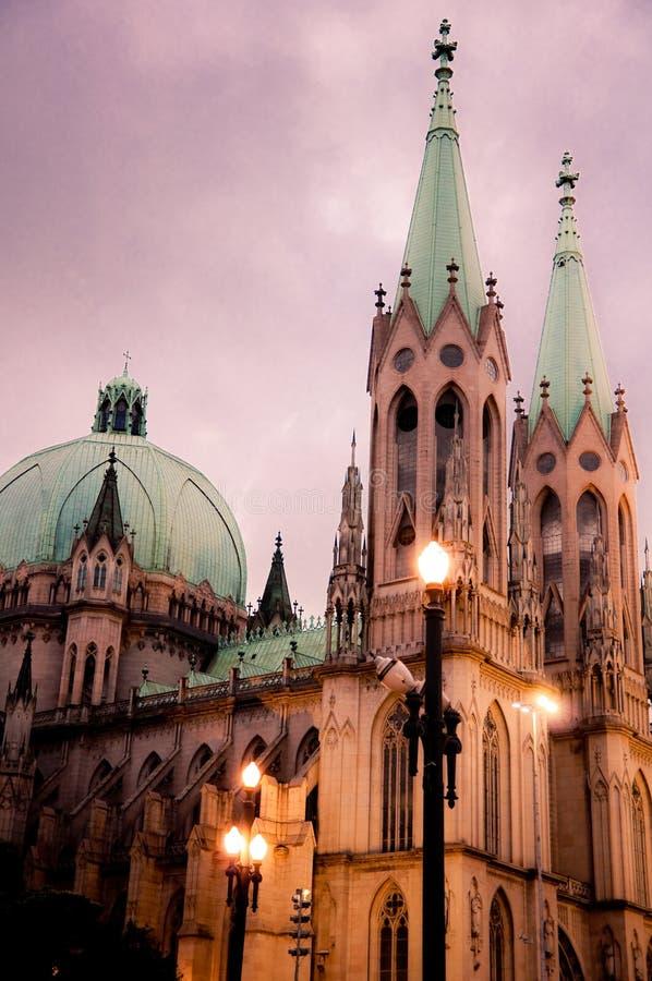 Catedral de Sé em São Paulo imagens de stock