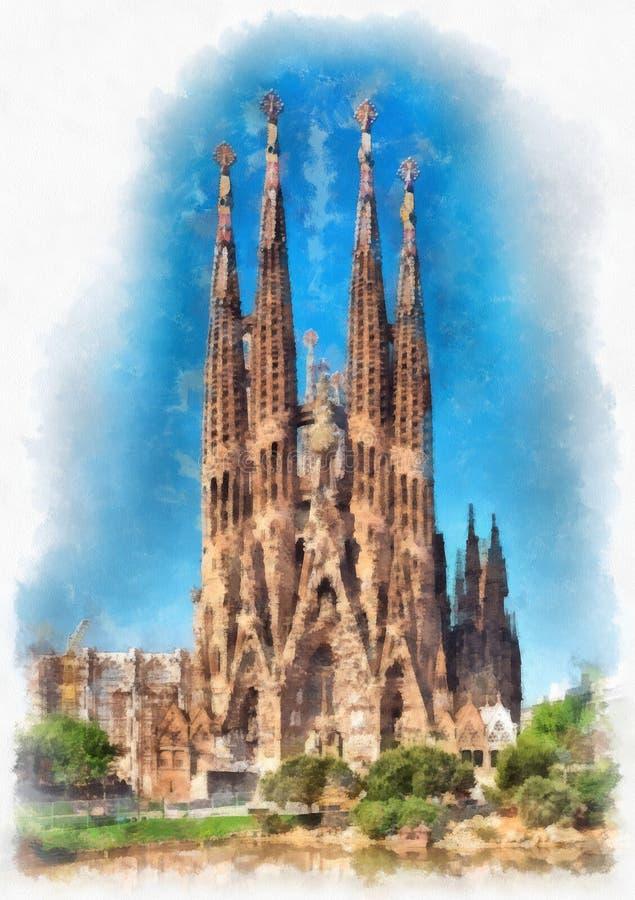 Catedral de Sagrada Familia em Barcelona, Espanha ilustração royalty free