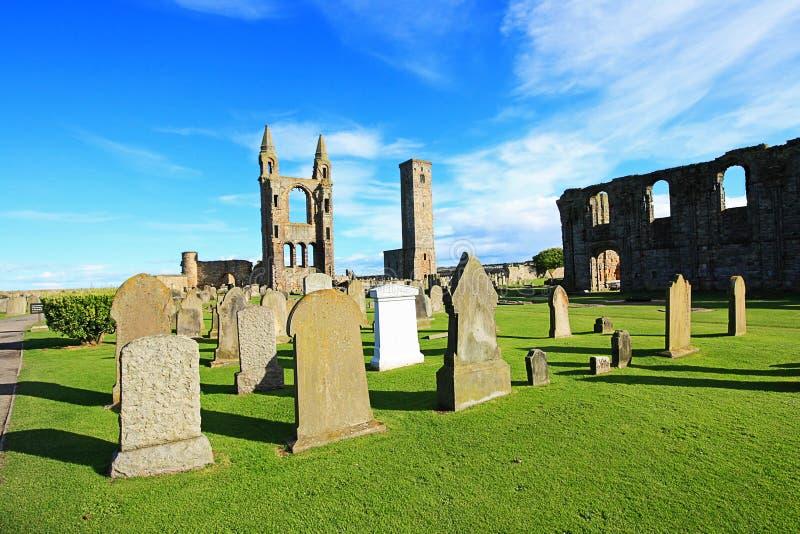 Catedral de Saint Andrews y torre de las reglas del St, Escocia fotografía de archivo libre de regalías