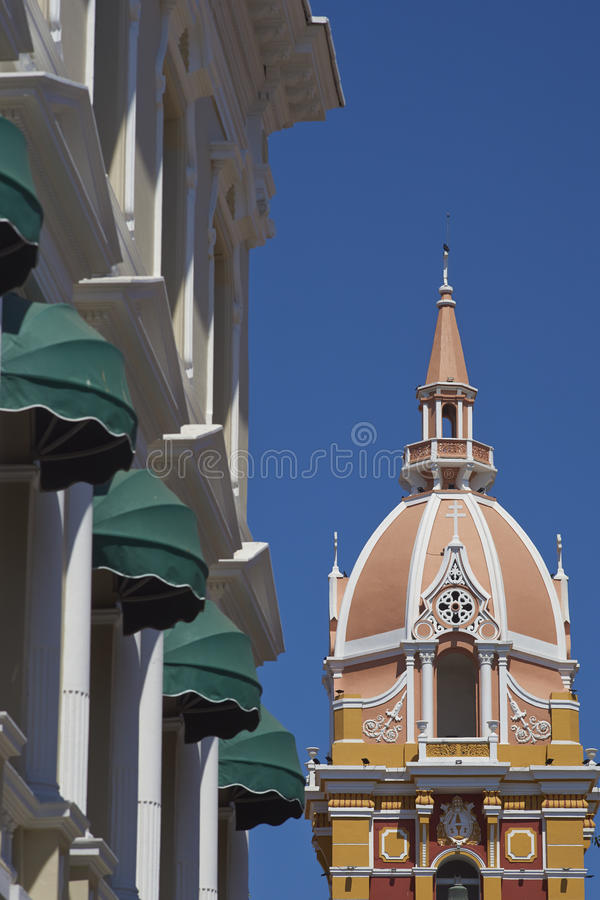 Catedral de Saint Catherine de Alexandria em Cartagena de Índia, Colômbia fotos de stock