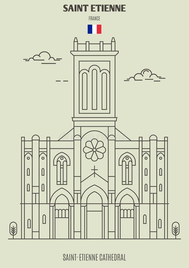 Catedral de Saint Etienne em Saint Etienne, França Ícone do marco ilustração royalty free