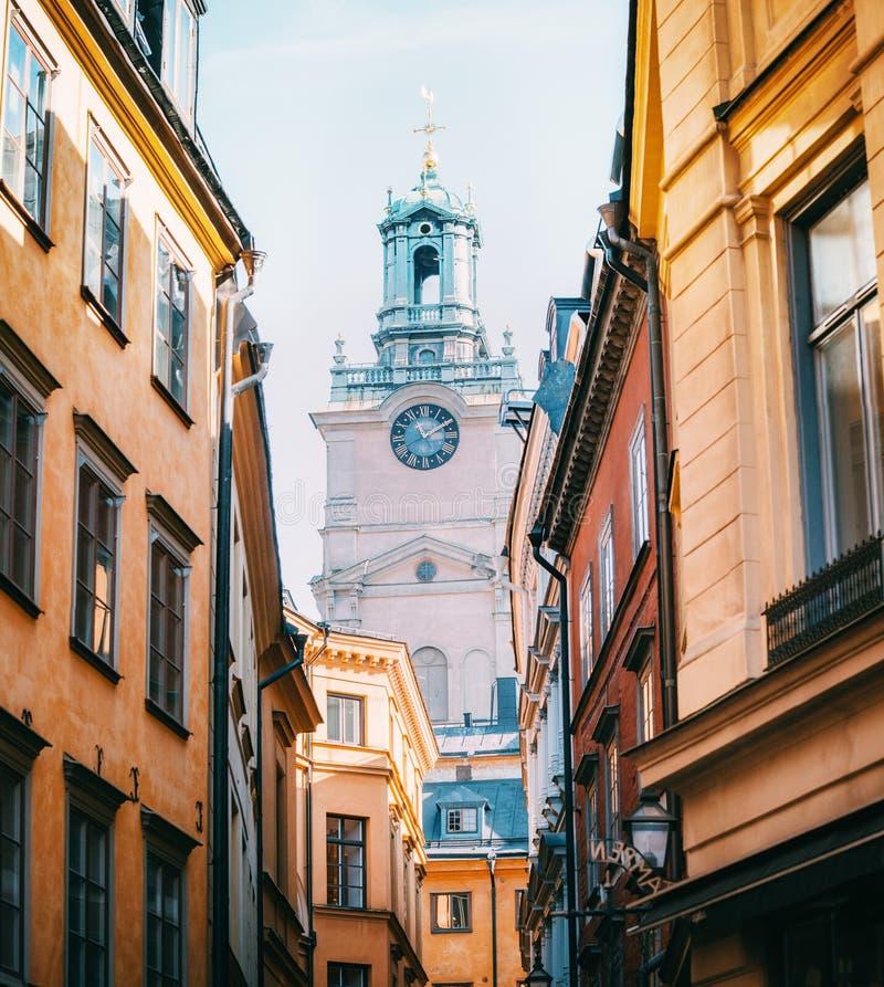 Catedral de Saint Nicholas Storkyrkan Bell Tower, Éstocolmo, Suécia fotografia de stock