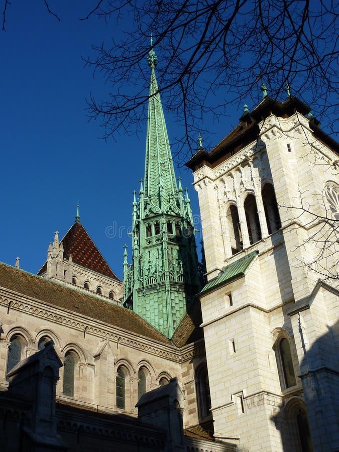 Catedral de Saint-Pierre em Genebra, Switzerland fotos de stock
