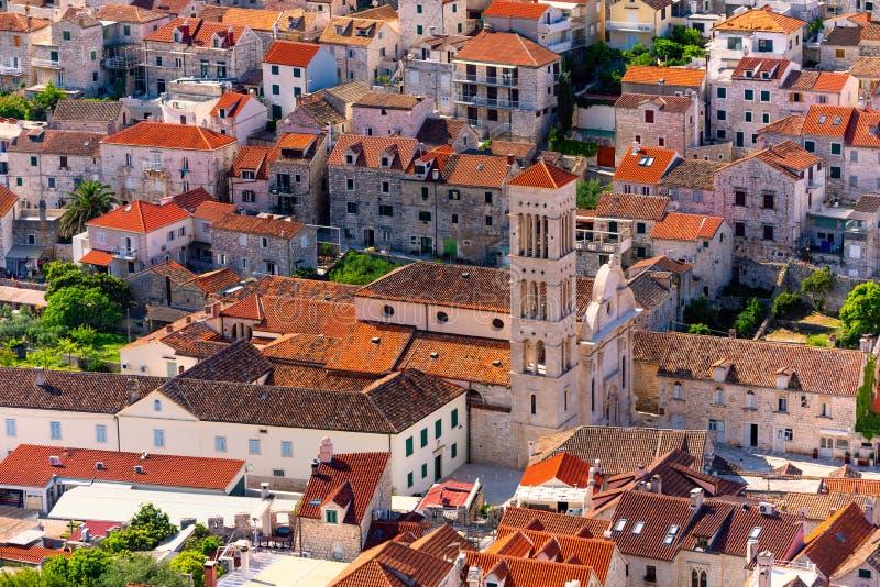 Catedral de Saint Stephen, catedral católica romana da cidade de Hvar, na ilha de Hvar, no condado de Split-Dalmatia, Croácia imagens de stock