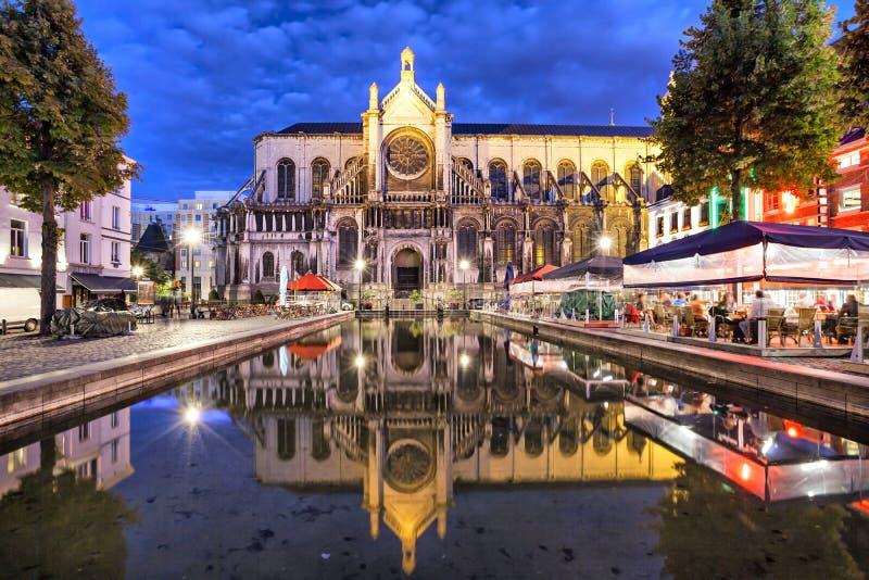 Catedral de Sainte Catherine en Bruselas fotografía de archivo
