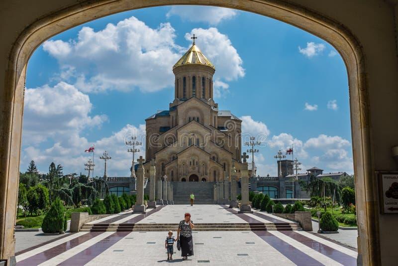 Catedral de Sameba, Tbilisi, Geórgia, Europa fotografia de stock royalty free