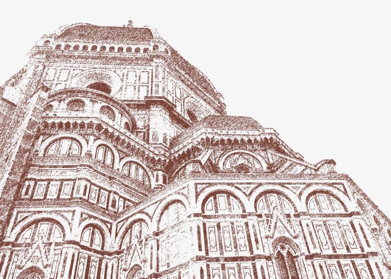 Catedral de Santa Maria del Fiore em Florença ilustração royalty free