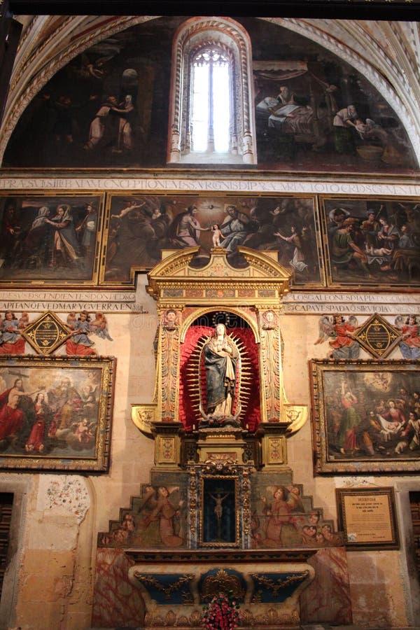 Catedral de Santa Maria de Segovia i den historiska staden av Segovia, Castilla y Leon, Spanien arkivbild