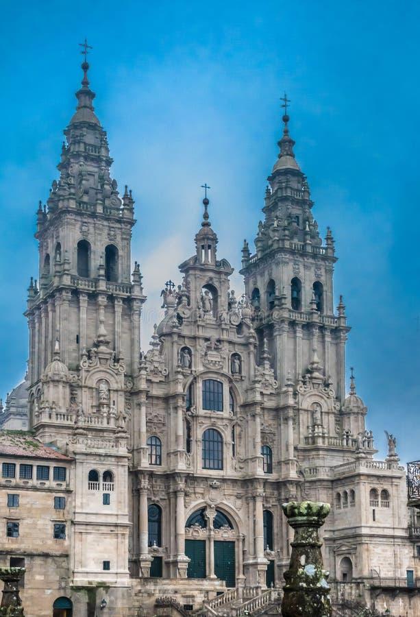 Catedral de Santiago de Compostela, capital de Galicia, España Sitio de la capilla de Saint James el grande, ahora su catedral, imágenes de archivo libres de regalías