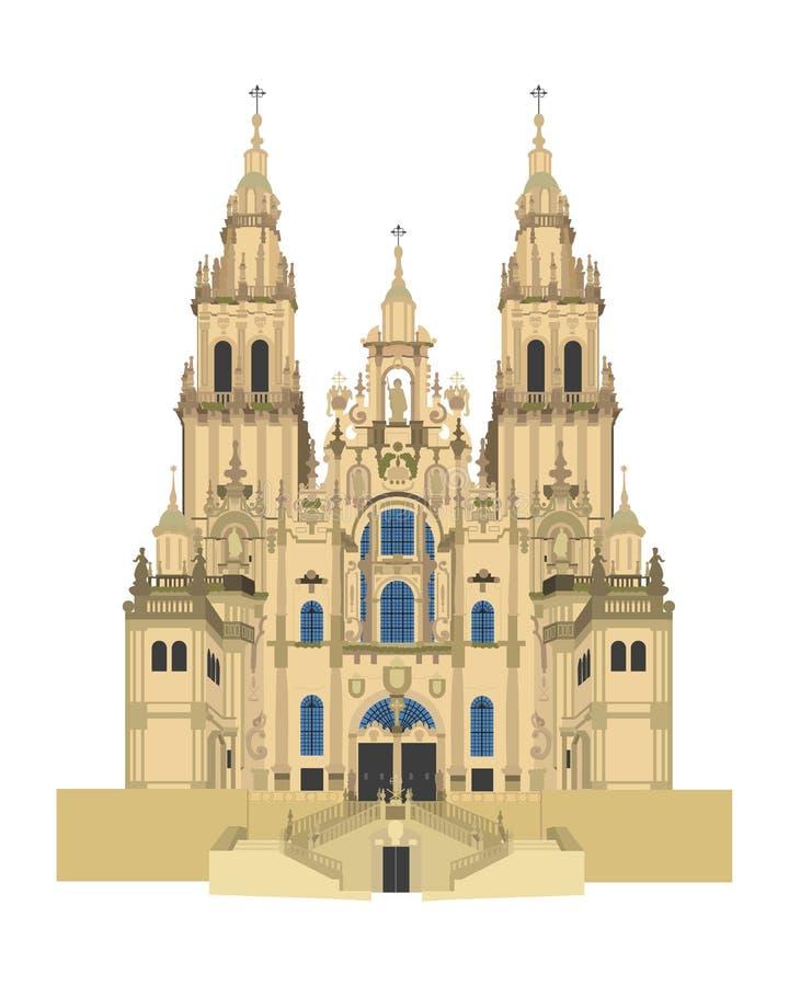 Catedral de Santiago de Compostela, Spain Ilustração do vetor ilustração stock