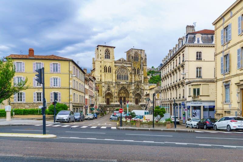 Catedral de Santo-Mauricio, en Vienne fotografía de archivo