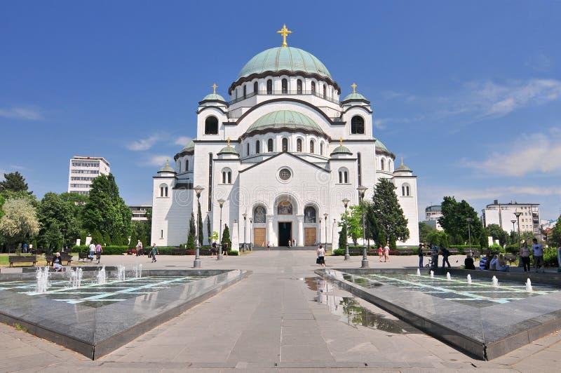 Catedral de Sava del santo y monumento de Karageorge Petrovitch en Belgrado, Serbia fotografía de archivo