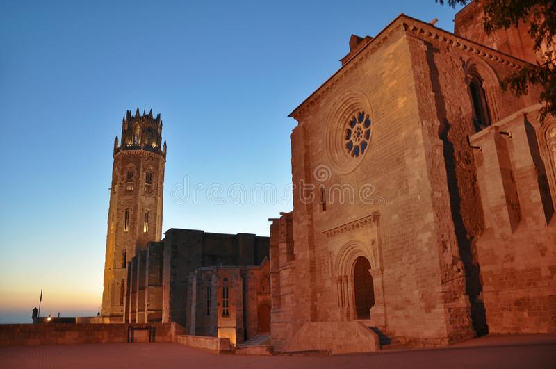 Catedral de Seu Vella do La de Lleida, Espanha fotos de stock royalty free