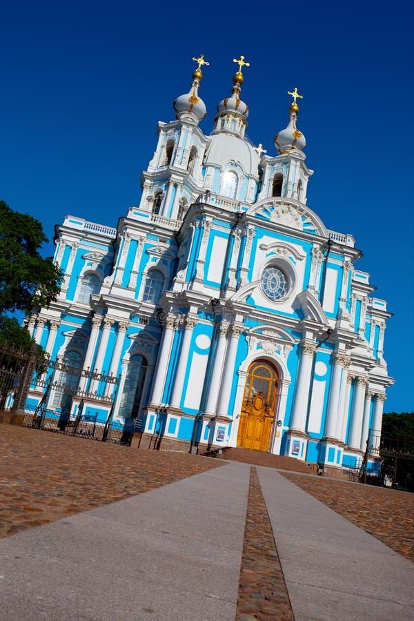 Catedral de Smolny en St Petersburg. imagen de archivo