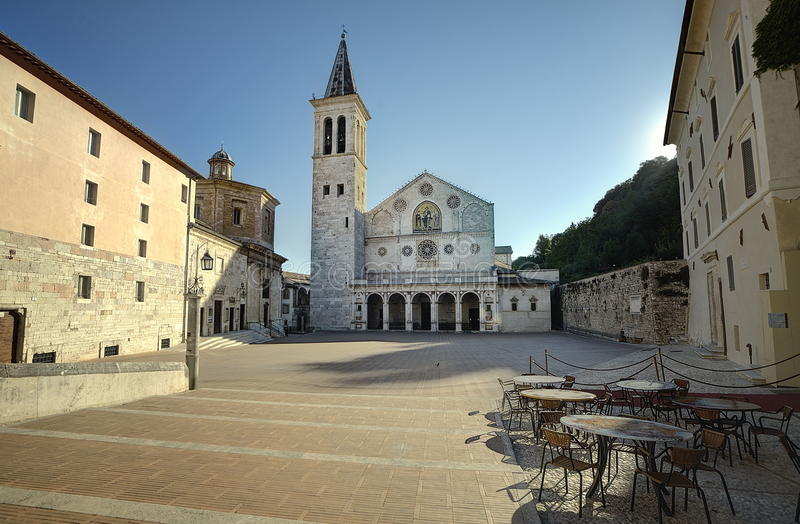 Catedral de Spoleto foto de archivo