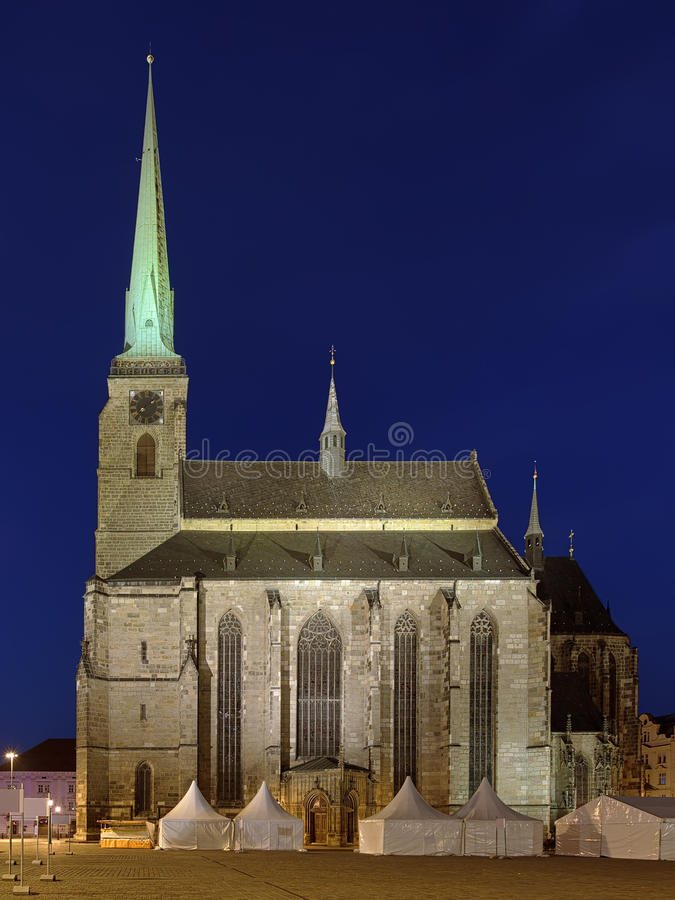 Catedral de St Bartholomew em Plzen, República Checa fotografia de stock royalty free