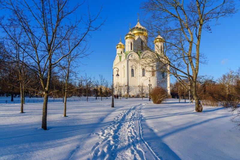Catedral de St Catherine velikomuchennitsy en invierno pushkin St Petersburg Rusia foto de archivo libre de regalías