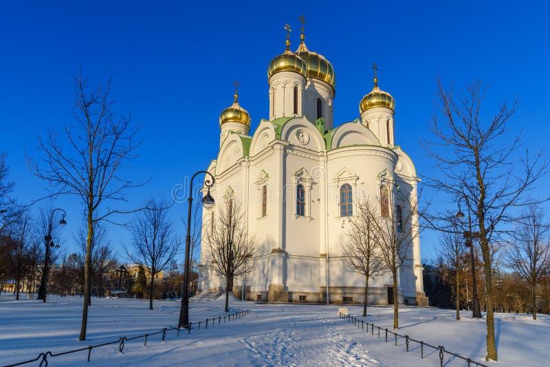 Catedral de St Catherine velikomuchennitsy en invierno pushkin St Petersburg Rusia imagen de archivo