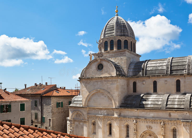 Catedral de St James em Sibenik, Croatia foto de stock royalty free