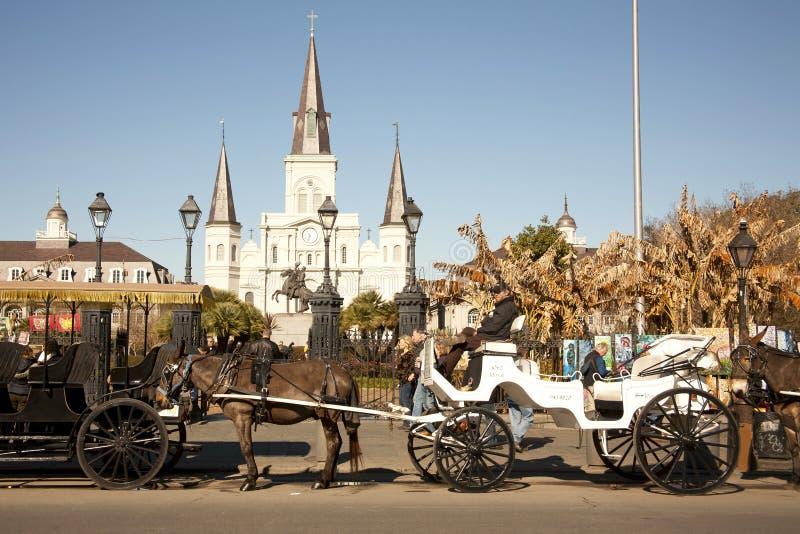 Catedral de St. Louis con los carros de la mula imagenes de archivo